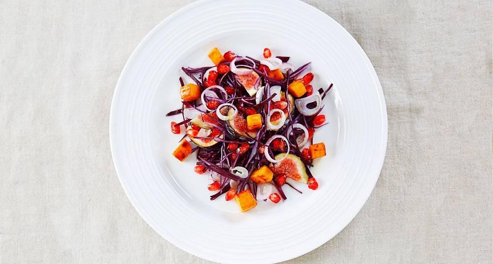 Rødkålsalat med fiken og søtpotet