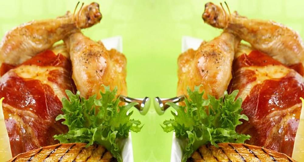Helstekt vårkylling med skinke og søtpotet