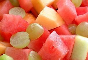 Melon- og druesalat
