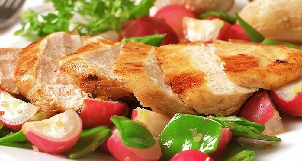Sitronmarinert kyllingfilet med vårgrønnsaker og saltkokte poteter
