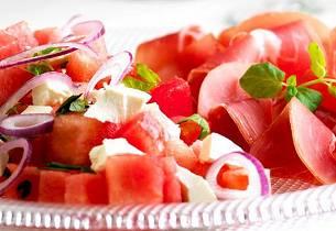 Melon- og fetaostsalat