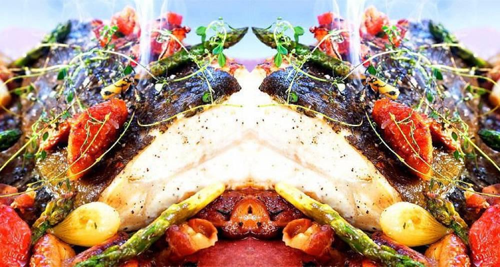 Kokkens ovnsbakte kveite med sherry og grønnsaker