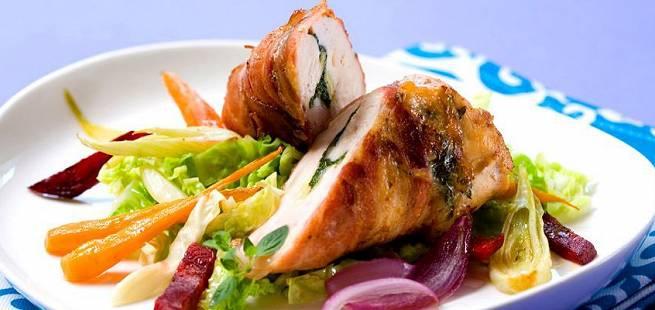 Kyllingfilet fylt med krydder og ost