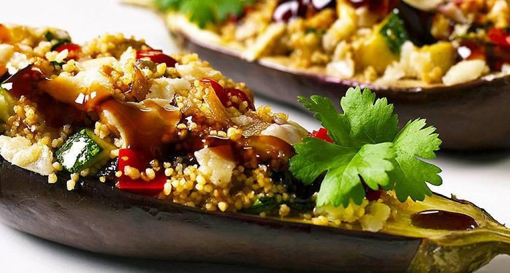 Gratinert aubergine med couscous