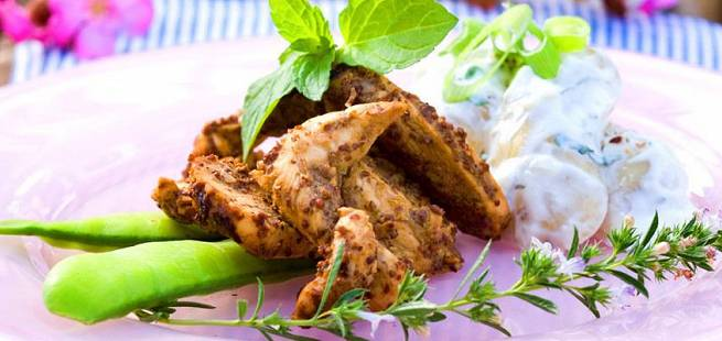 Balsamicostekt kylling med potetsalat