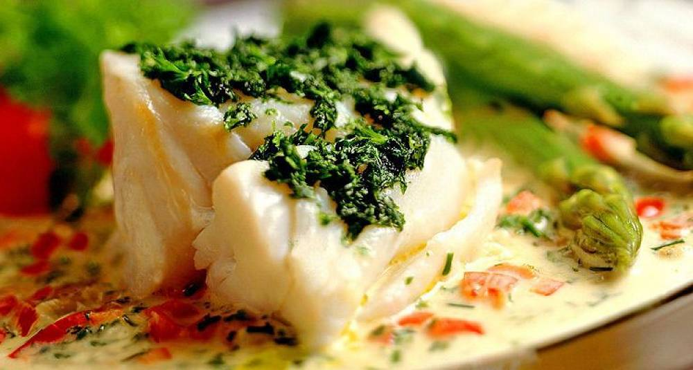 Skrei med pesto og grønn asparges