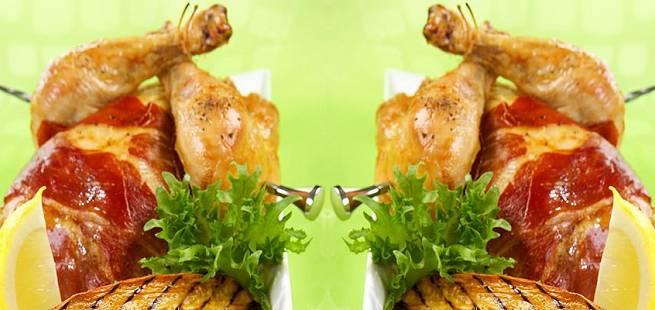 Helstekt vårkylling med skinke, søtpotet og chilikrem