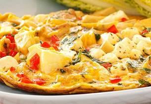 Gresk omelett med artisjokk, paprika og fetaost