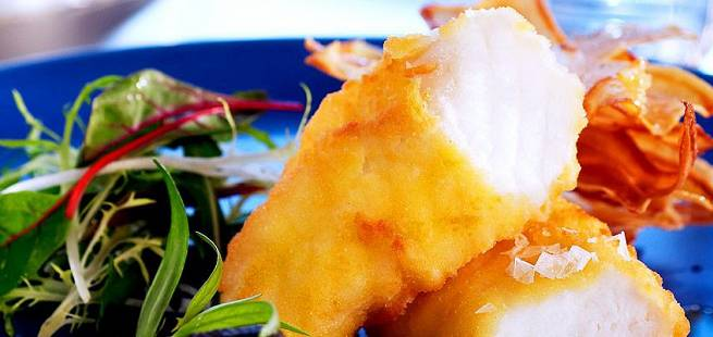 Fish and chips med steinbit