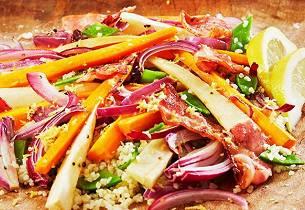 Bulgursalat med bakte rotgrønnsaker