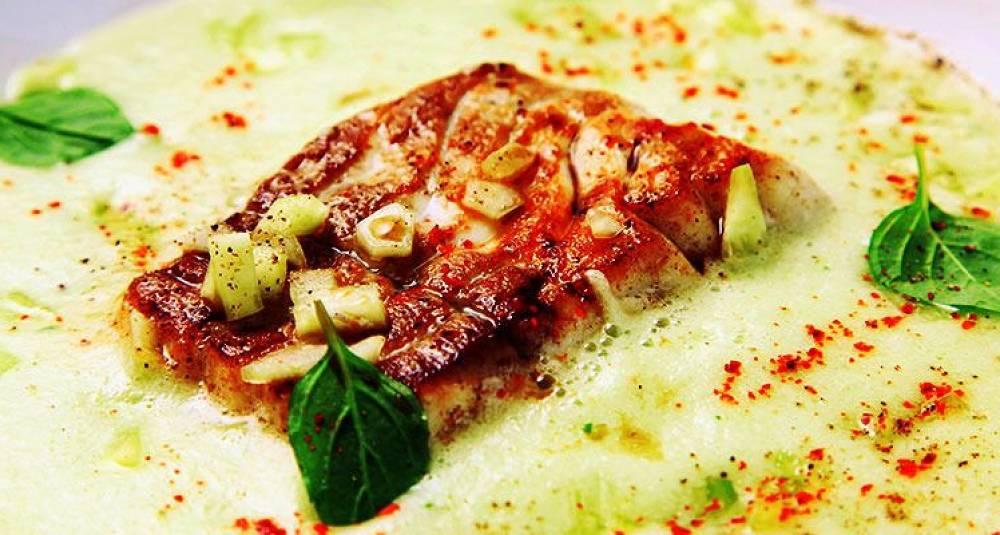 Stekt sei med kald agurksuppe
