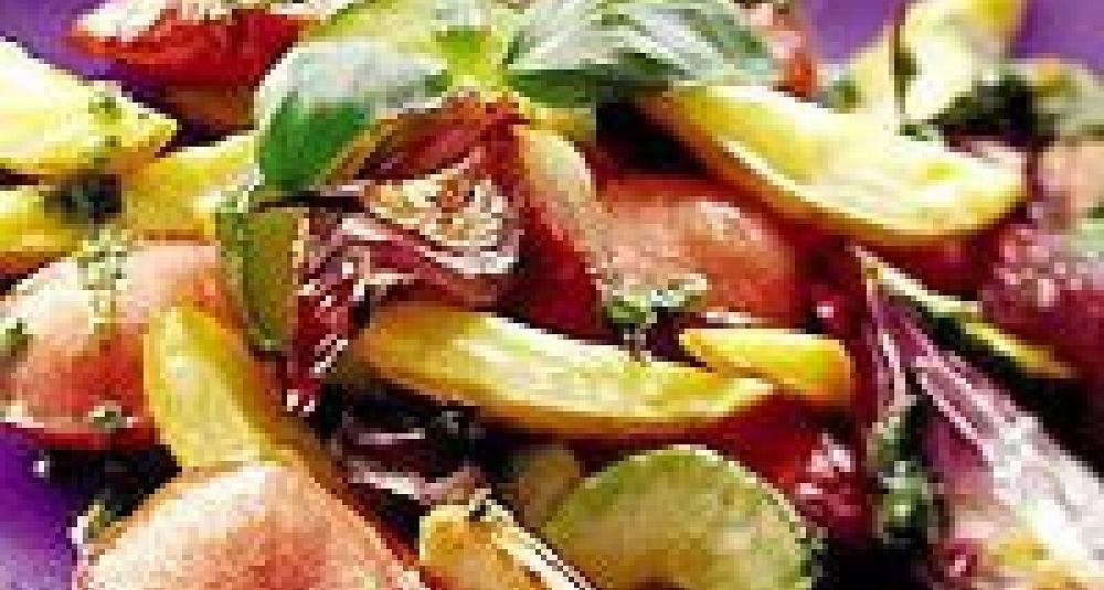 Ovnsbakte pølser og grønnsaker med pesto