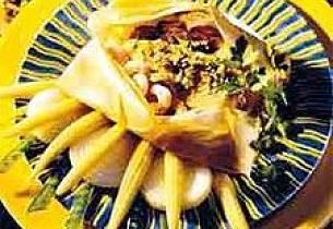 Bakt sjømat med ingefærsaus