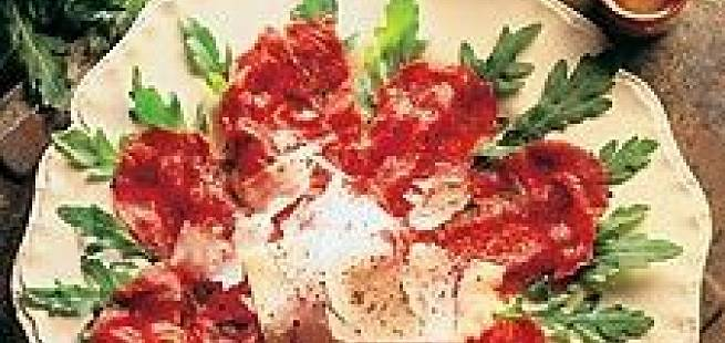 Carpaccio med andelevermousse