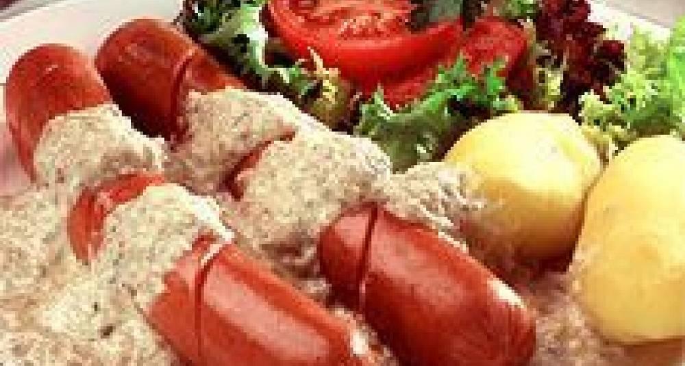 Snadderpølser med hvitløksaus