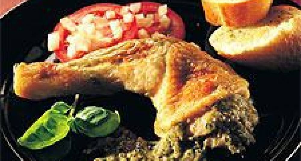 Kyllinglår fylt med hvitløkskrem