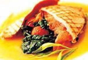 Kalveschnitzel med sautert spinat, tomat og sopp på ferskensaus