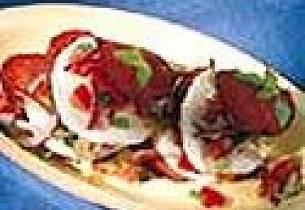 Mozzarella med Salamichips og Salsa