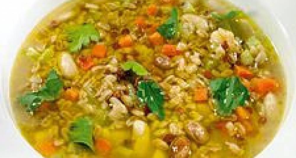 Speltsuppe med lokk (Zuppa di farro co cappellaccio di pane)