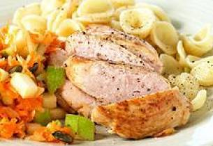 Kyllingfilet med råkost og pasta