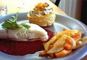 Kveite med rødbete-limesaus