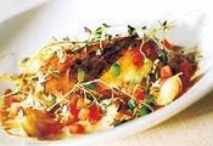 Skrei med leversaus og poteter dauphinoise