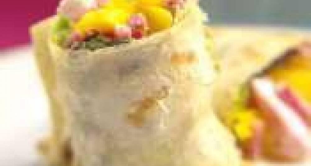 Salat med fårerull, mango og syltede grønnsaker
