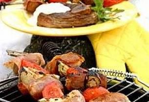 Potet- og skinkespyd