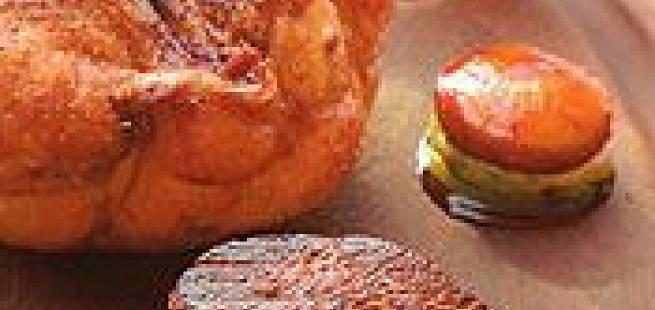 Blodand fra Rouen,syltet vårløk med cognacglasert eple, smørstekte poteter med pannestekt andelever, appelsinglace