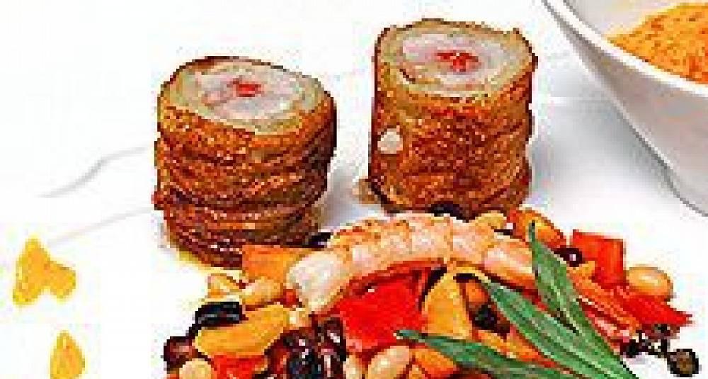 Potetstekt sei med salami, Bouillabaisse- vinaigrette og bønnesalsa