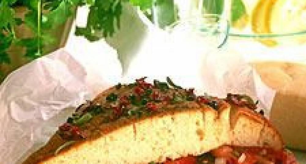 Focaccia med biff og tomatsalat