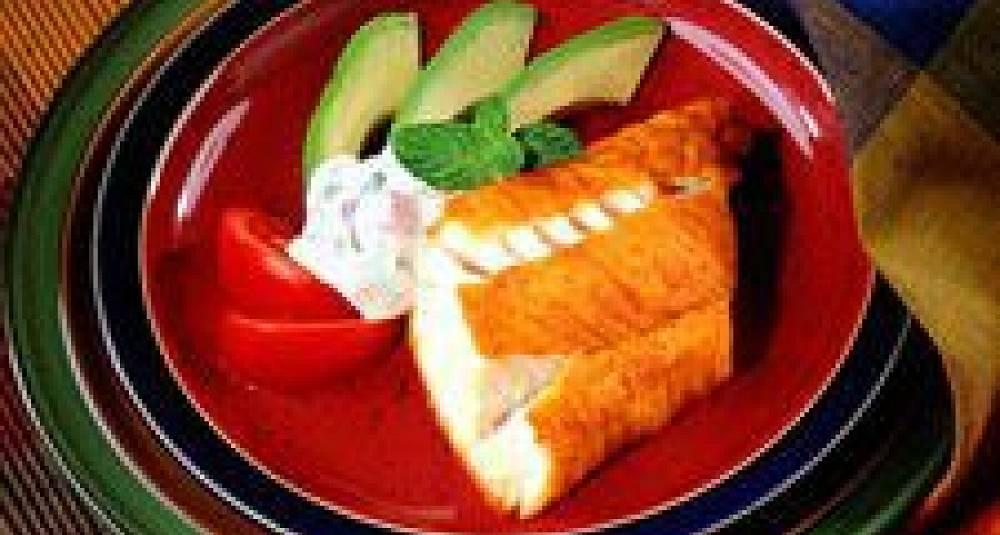 Karrystrødd torsk med avokado og myntekrem