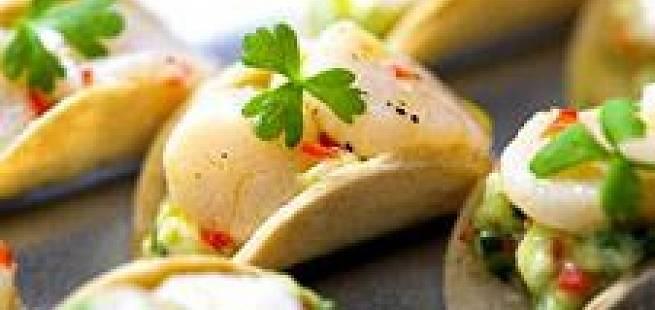 Råmarinerte kamskjell med urtesalat