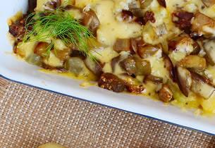 Lun rakefisk på potet- og auberginekompott