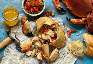 Krabber med salsa verde og sitronsmør