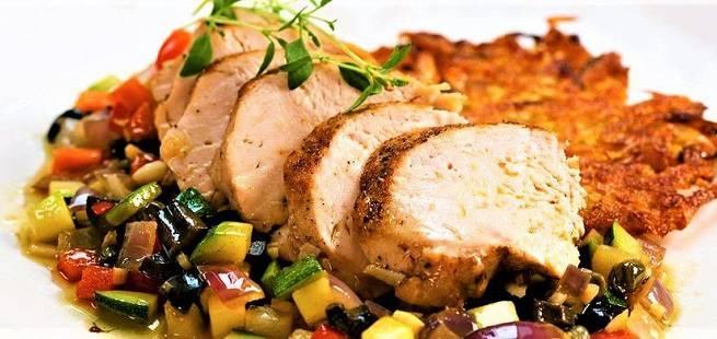 Kyllingfilet med varm oliven- og kaperssalsa