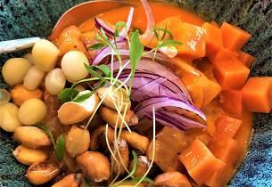 Ceviche de rocoto med glasert søtpotet