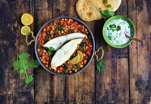 Aichas indiske chana masala med kveite