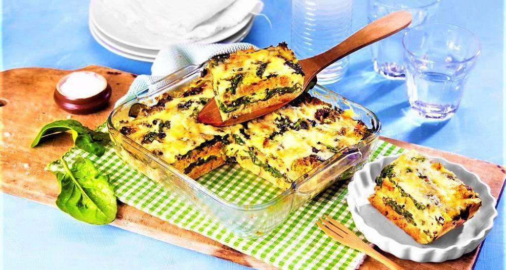 Strata med spinat og brokkoli