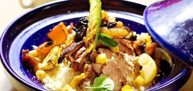 Lammelår med ratatouille og couscous