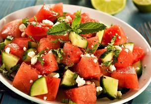 Kremet fruktsalat med vannmelon