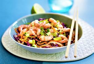 Asiatisk wok med reker