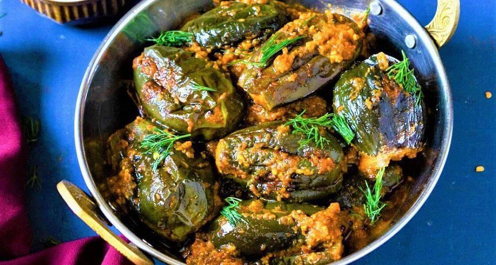 Fylte auberginer Bharwa Baingan som i India
