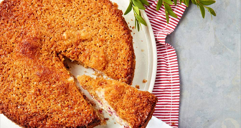 Sukkerbrød med tyttebær- og kokostosca