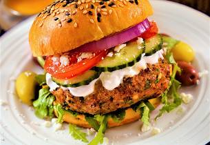 Gresk burger av lam med tzatziki