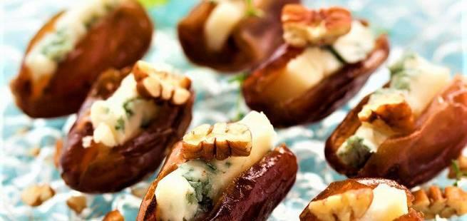 Daddel og gorgonzola snack