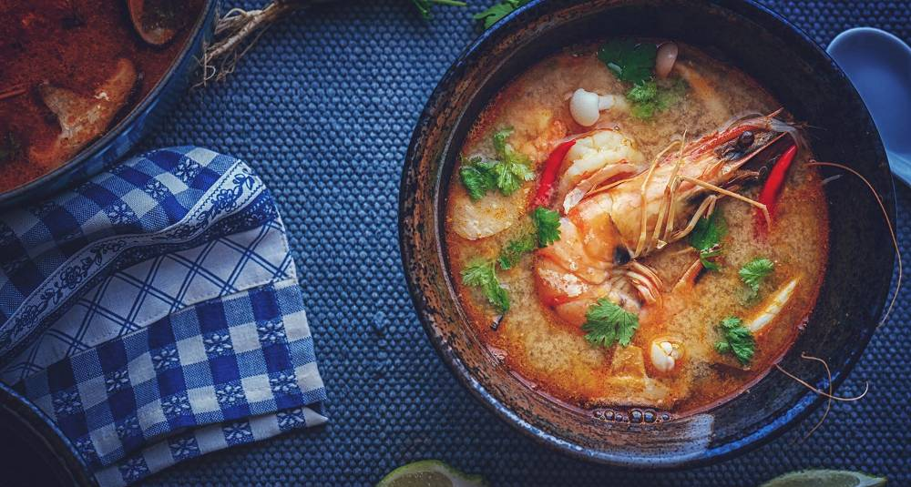 Tom yum - thaisuppe med sjøkreps og kokosmelk