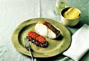 Torsk med chorizo, granateple og potetmos