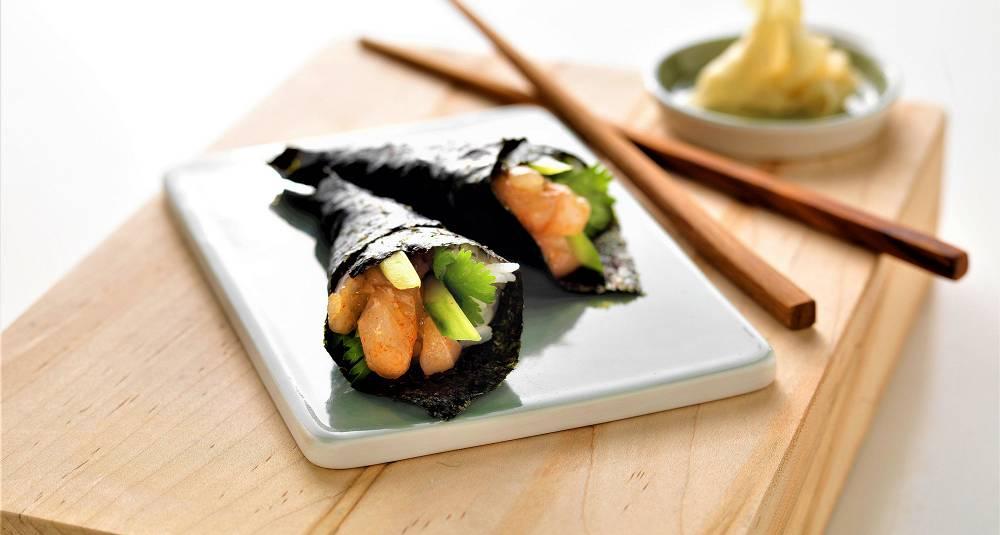 Temaki sushi med sei