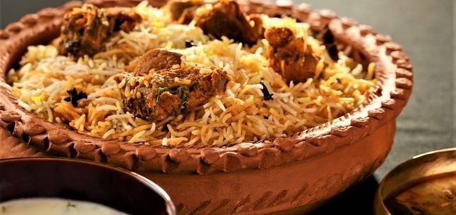 Lam med ris Hyderabadi Gosht Biryani